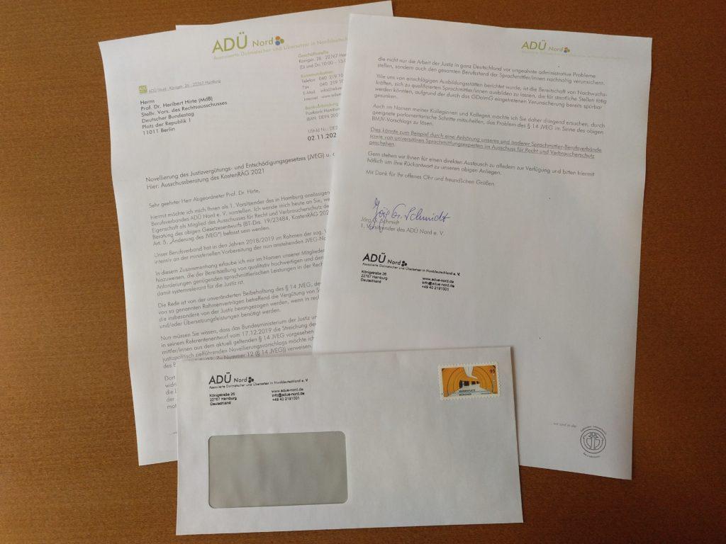 Brief des ADÜ Nord an den stellvertretenden Vorsitzenden des Rechtsausschusses